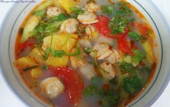 Cách nấu canh, canh ngao nấu dứa