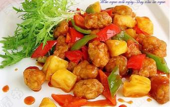 Nấu ăn món ngon mỗi ngày với dấm, Hướng dẫn làm thịt chiên xốt dứa chua ngọt tuyệt hảo
