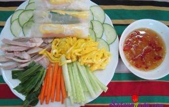 Nấu ăn món ngon mỗi ngày với Dưa chuôt, Hướng dẫn làm món bún cuốn bánh tráng đơn giản mà ngon