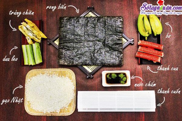Cách làm sushi ngon tuyệt hảo và cực kì đơn giản nguyên liệu