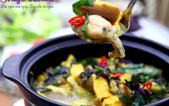 Nấu ăn món ngon mỗi ngày với Tiêu, Cách nấu món ếch om chuối đậu thơm ngon bổ dưỡng