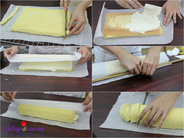 Hướng dẫn làm bánh bông lan cuộn siêu đơn giản 6