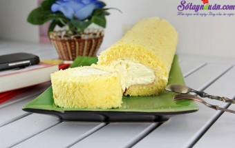 cho bé ăn, Hướng dẫn làm bánh bông lan cuộn siêu đơn giản kết quả