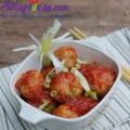 cà tím nhồi thịt, Hướng dẫn làm thịt viên bọc trứng cút sốt cà chua ngon