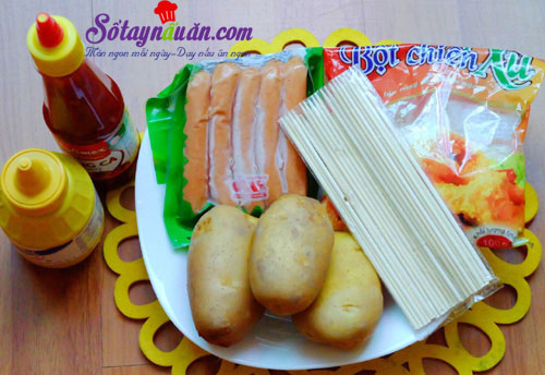 Bí quyết làm khoai tây bọc xúc xích chiên giòn cực ngon  nguyên liệu