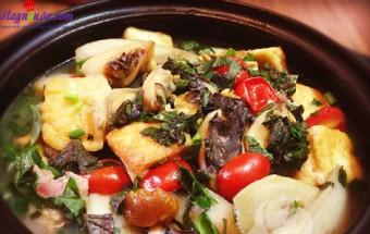 nấu canh ngon, cách àm ốc om chuối đậu 7