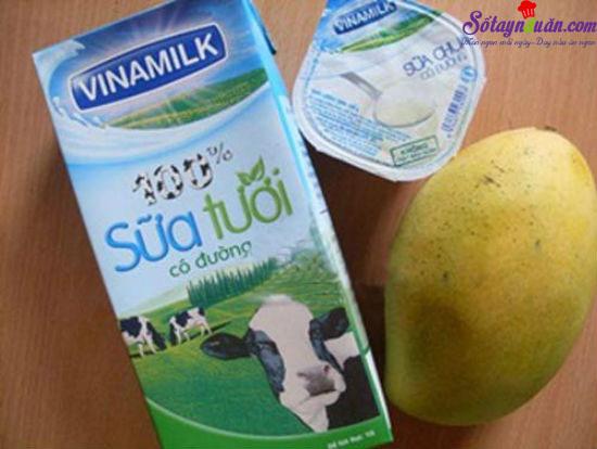 cách làm sinh tố xoài với sữa tươi 1