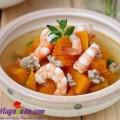 canh bí đậu phộng, Cách nấu canh bí đỏ nấu tôm sườn tuyệt ngon
