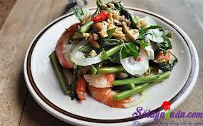 Nấu ăn món ngon mỗi ngày với Đậu phộng, Cách làm gỏi tôm rau rút ngon ngọt đưa cơm