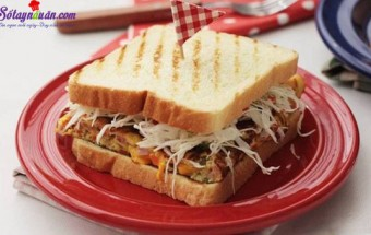 Các món ăn vặt, cách làm sandwich đơn giản 5