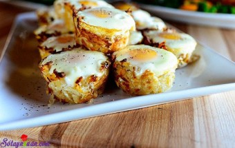 Nấu ăn món ngon mỗi ngày với Tiêu, cách làm trứng nướng khoai tây 7