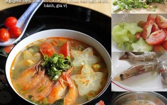 món ngon hàng ngày, cách nấu canh tôm chua