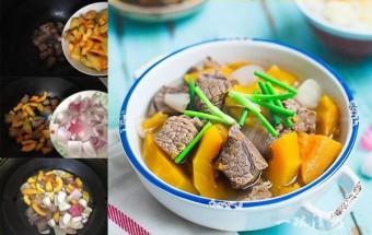 nấu canh ngon, canh bí đỏ bò hầm