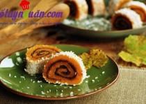 Học làm bánh bí ngô cuộn đậu đỏ thơm ngon lạ miệng
