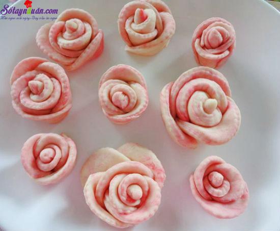 các bước làm bánh bao hoa hồng 7