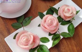 món ăn hà nội, các bước làm bánh bao hoa hồng 8