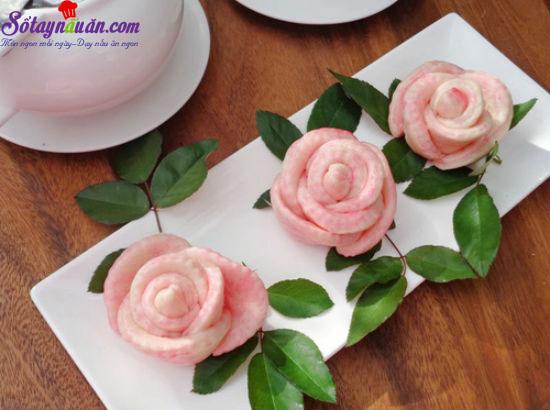 các bước làm bánh bao hoa hồng 8