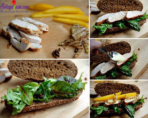 cách làm bánh mì sandwich gà với sốt xoài  8