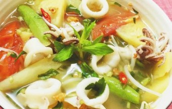 Nấu ăn món ngon mỗi ngày với Giá đỗ, Cách nấu canh chua mực thanh mát bổ dưỡng ngày hè kết quả