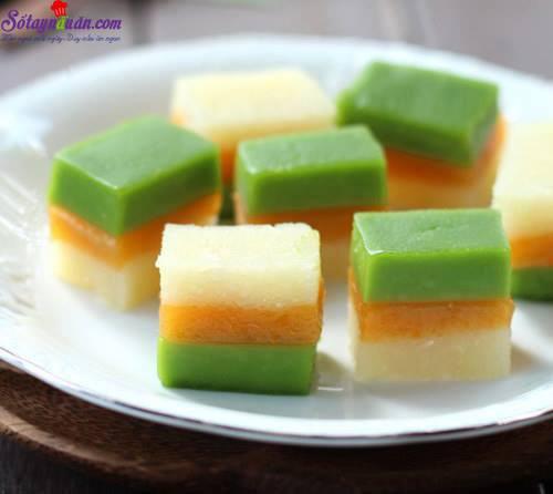 Hướng dẫn làm bánh sắn ba màu thơm ngon,mát lạnh kết quả