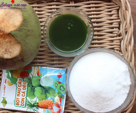 cách làm thạch dừa lá dứa 1