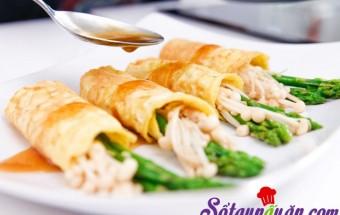Nấu ăn món ngon mỗi ngày với Bột năng, Học làm trứng cuộn nấm, măng tây ngon ngất ngây