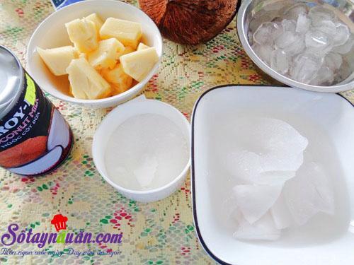 Công thức cho sinh tố dừa ngon, bổ, mát lạnh nguyên liệu