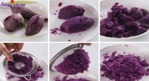 Cách làm bánh bao khoai lang tím 1