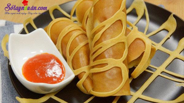 Nấu ăn, Cách làm pancake cuộn xúc xích bò băm kiểu Thái cực ngon