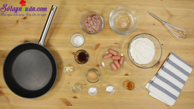 Cách làm pancake cuộn xúc xích bò băm kiểu Thái cực ngon nguyên liệu
