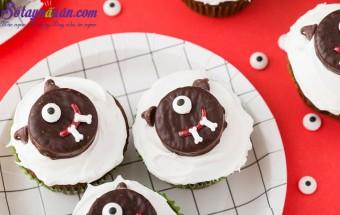socola tươi, Cách làm cupcake quái vật Halloween siêu dễ thương