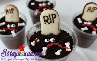 Món ăn lạ, Cách làm pudding nghĩa địa rùng rợn cho tiệc Halloween