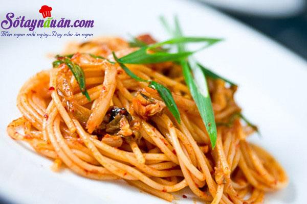 Công thức cho món spaghetti kim chi dai ngon từng sợi kết quả 2