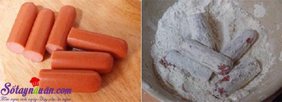 Cách làm cơm viên xúc xích chiên giòn 5