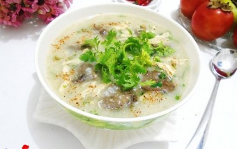 Nấu ăn món ngon mỗi ngày với Hành khô, cách nấu cháo tim gà rau cải 6