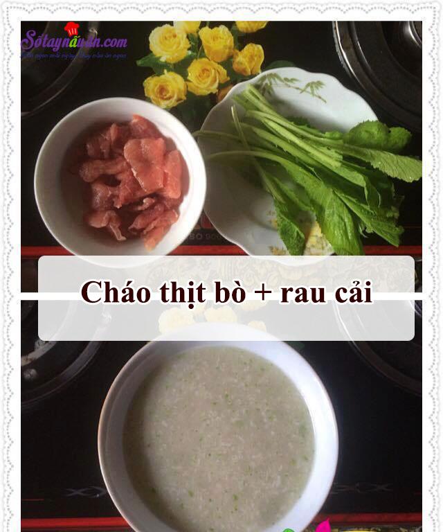cách nấu cháo thịt bò rau cải