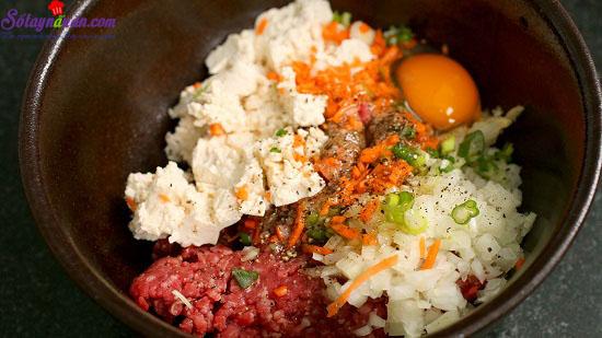 Cách làm chả thịt đậu phụ 1
