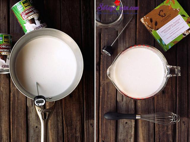 cách làm sữa chua sữa dừa 1