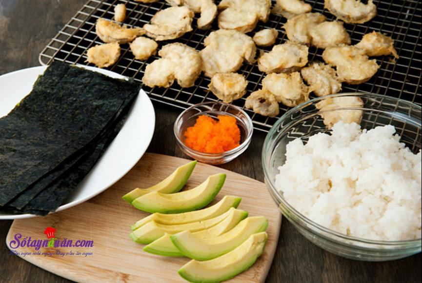 Làm sushi cuộn với nấm cực kì thơm ngon và đơn giản 5