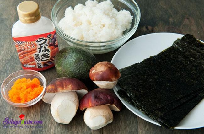 Làm sushi cuộn với nấm cực kì thơm ngon và giản đơn nguyên liệu