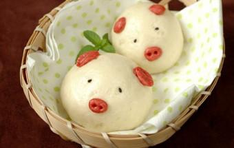 Làm đồ ăn sáng, cách làm bánh bao con heo nhân thịt 5
