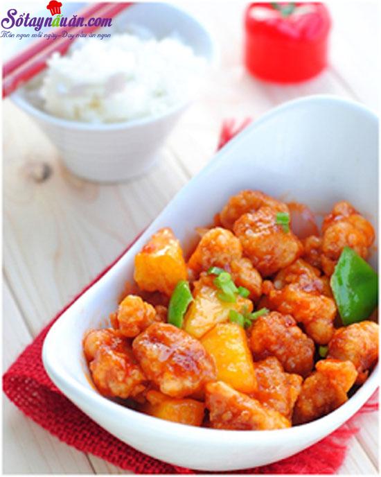 thịt thăn sốt chua ngọt 9