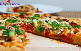 Nấu ăn món ngon mỗi ngày với Nấm hương, cách làm bánh pizza kim chi 1