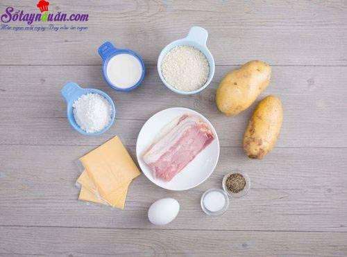 Cách làm khoai tây bọc phô mai chiên giòn ngon mê mẩn nguyên liệu