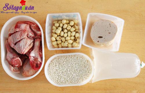 Hướng dẫn nấu xôi gà hạt sen cho bữa sáng dinh dưỡng nguyên liệu
