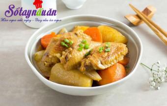 cách làm món kho, Cánh gà kho củ cải ngon mê mẩn khi ăn cùng cơm