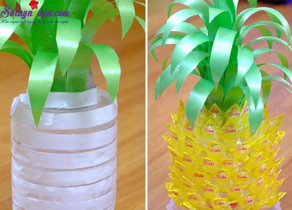 cách làm hoa sen, quả dứa bằng kẹo oishi 7