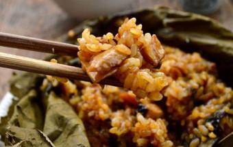 Nấu ăn món ngon mỗi ngày với Nấm hương, cách làm xôi gà hấp lá sen 1