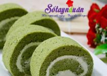 Bánh bông lan trà xanh cuộn kem tươi ngon tuyệt cú mèo