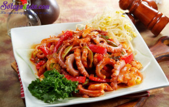 Nấu ăn món ngon mỗi ngày với Tiêu, cách làm bạch tuộc xào cay 1